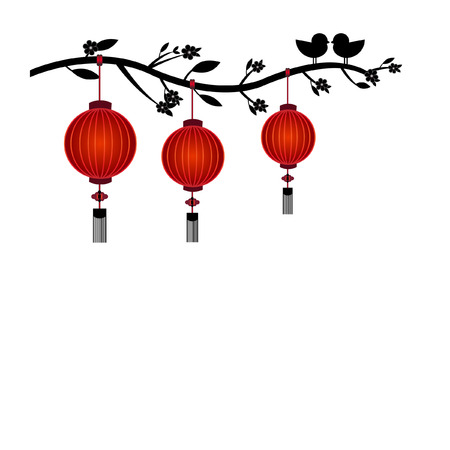 chinese ethnicity: Chinese lantern in white background