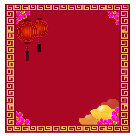 Chinese Lantern with golds - Illustration