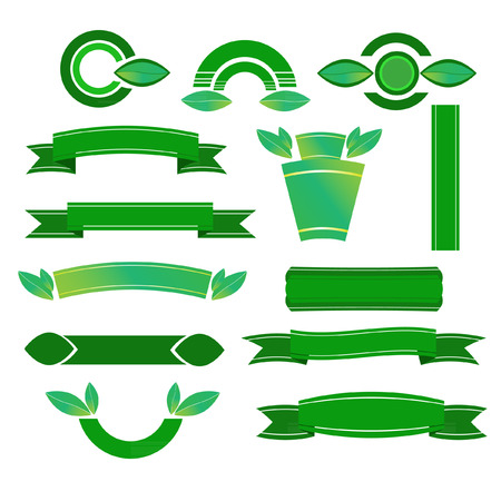 Green banners set - Illustration
