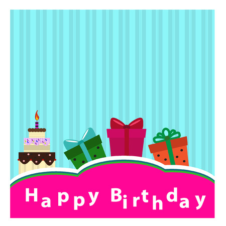 cute text box: Birthday cards - Illustration