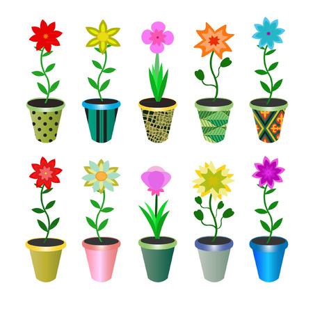 prety: flowers in pots Illustration