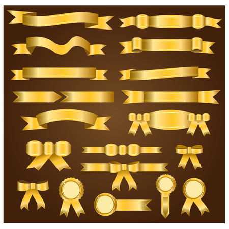 Gold ribbon and bow in 20 pieces . Ilustracja