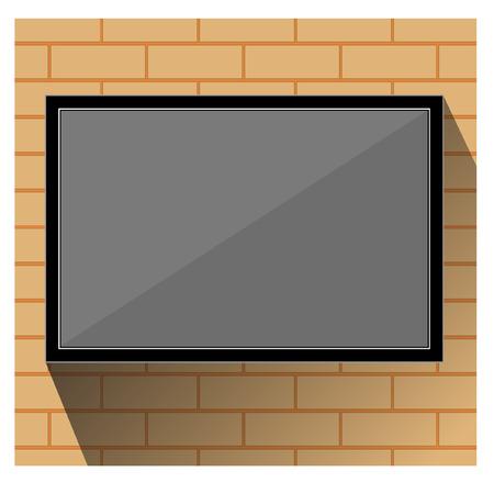tv wall: TV wall orange brick