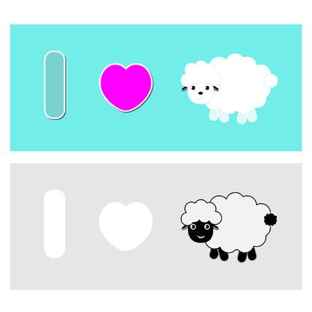 sheep love: I love sheep vector Illustration