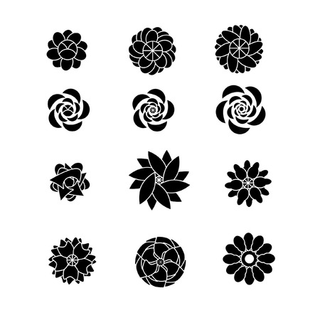 Flower silhouettes vector shaps