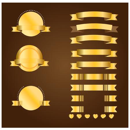 ribbon vector set: Gold banner and ribbon vector