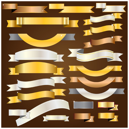 gold silver bronze: Ribbon gold,silver,copper vector