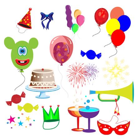 purim carnival party: Celebration elements vector Illustration