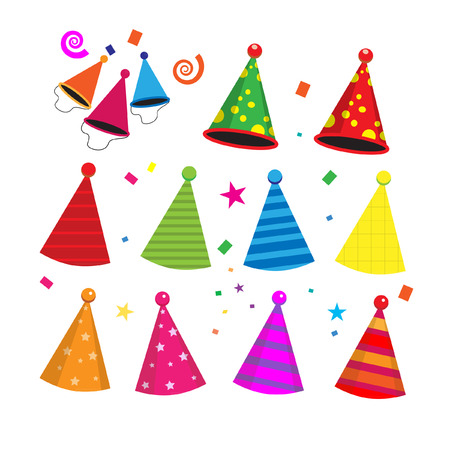 party hat: Colorful birthday party hats celebration vector
