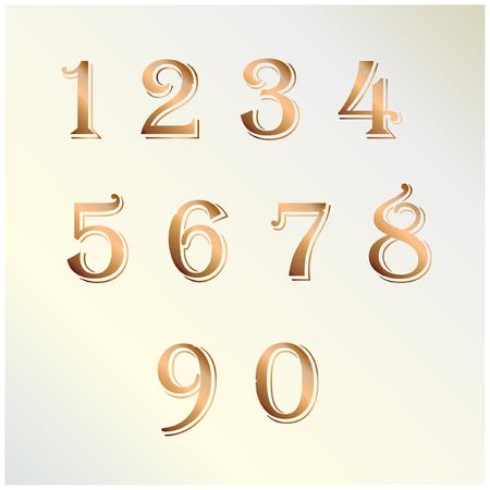 copper: Copper number vector Illustration