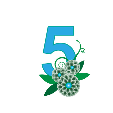 number five: Number five with floral vector Illustration