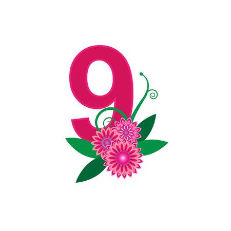 number nine: Number nine with floral vector Illustration