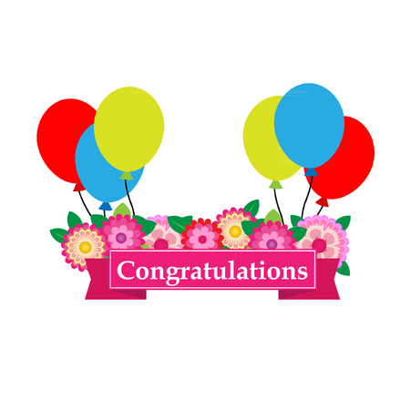 acclaim: Congratulations sign has  flower and balloons vector