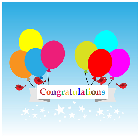 congratulations sign: Congratulations sign has balloons and brids vector