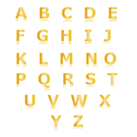 gold alphabet: Gold alphabet set a to z vector