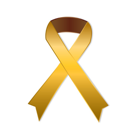 childhood cancer: Gold ribbon on white background