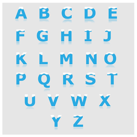 baby blue: White and blue alphabet set a to z vector