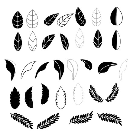 loto: leafs icons for pattern with white background