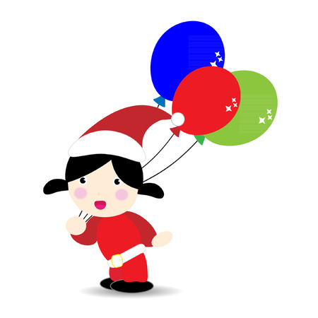 santa suit: Baby wearind santa suit holding balloons Illustration