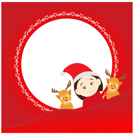 peep: Christmas background with santa claus and deers