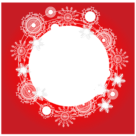 place for text: Christmas red background with snowflakes and place for text