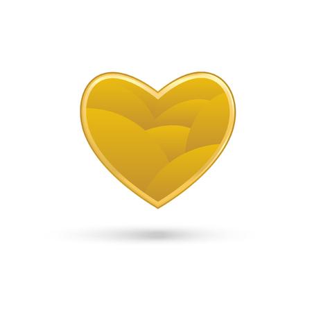 golden heart: Golden heart on white background Illustration