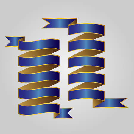 blue ribbon: Blue with gold ribbon vector