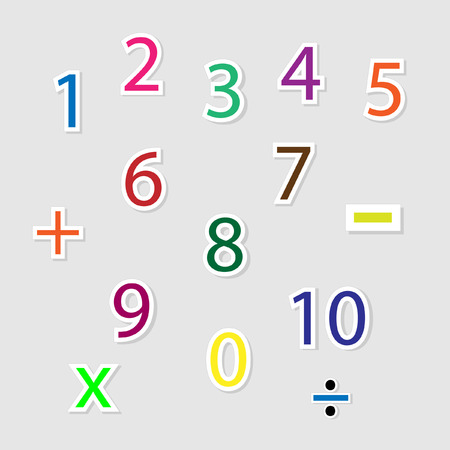 numbers clipart: Cute colorful number vector