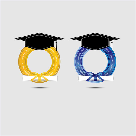 graduating: Graduating design with gold and blue