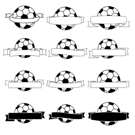 bannière football: Ruban noir football bannière et blanc Illustration