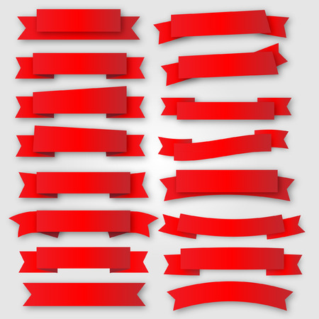 rubans et bannières rouge vecteur