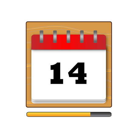 fourteenth: Fourteenth day in the calendar vector
