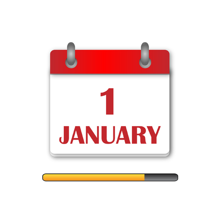 january 1st: The first day Newyear Day Calendar Icon vector