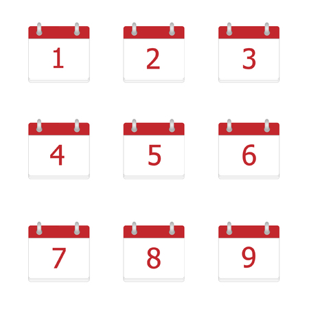 2 5 months: Vector calendar app icons 1 to 9 days