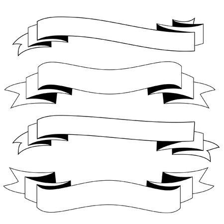 scrool: Ribbons black and white vector