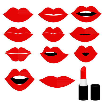 Girl mouths close up with red lipstick make up