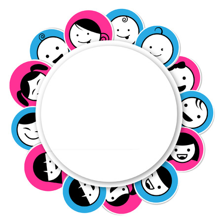 Circle banner with kids icon