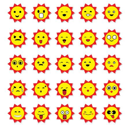 yawning: Sun emoticons vector image