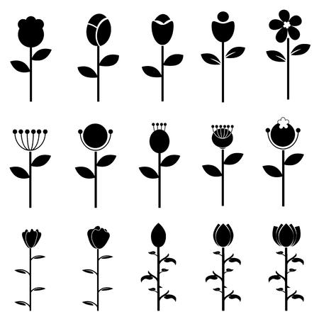 Flower icons set Illustration