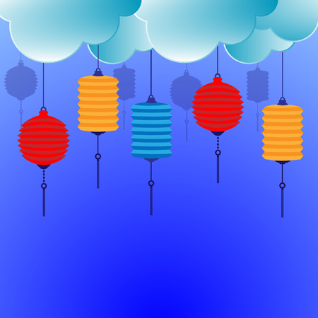 Chinese lantern with clouds background