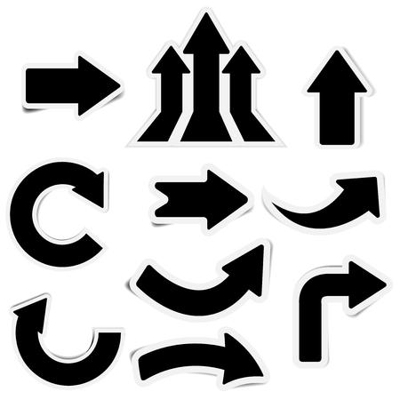 Black paper arrow stickers with shadows 矢量图像