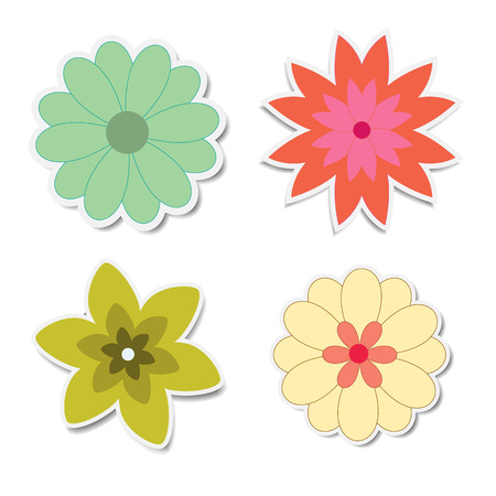 Retro flower stickers with shadows Illustration