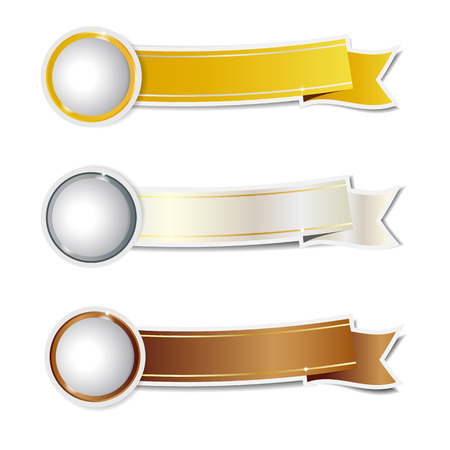 Golden, silver and bronze ribbons banner illustration. 矢量图像