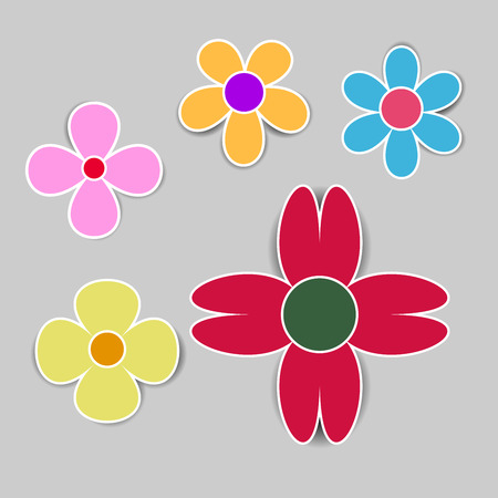 Cute colorful flower on grey background