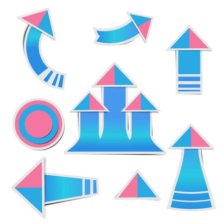 Blue paper arrow and pink paper pink stickers with shadows