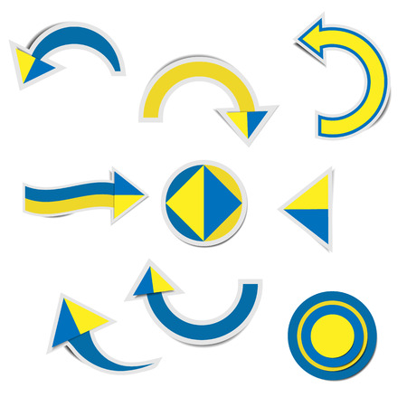 Blue paper arrow and yellow paper arrow stickers with shadows