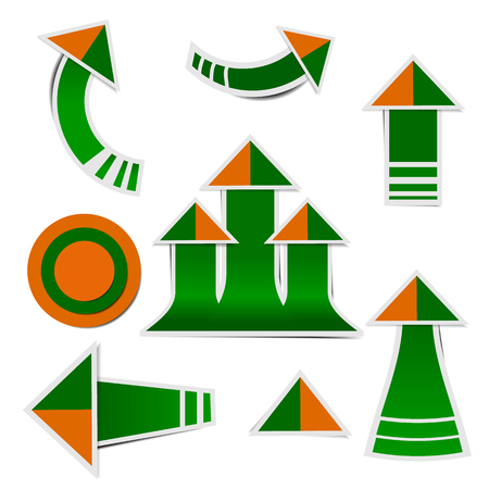 Green paper arrow and orange paper arrow stickers with shadows Ilustracja