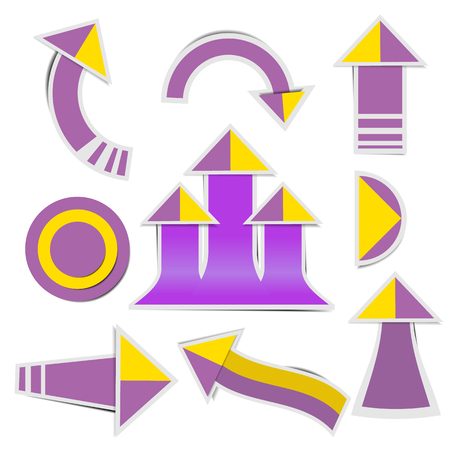 Purple paper arrow and yellow paper arrow stickers with shadows