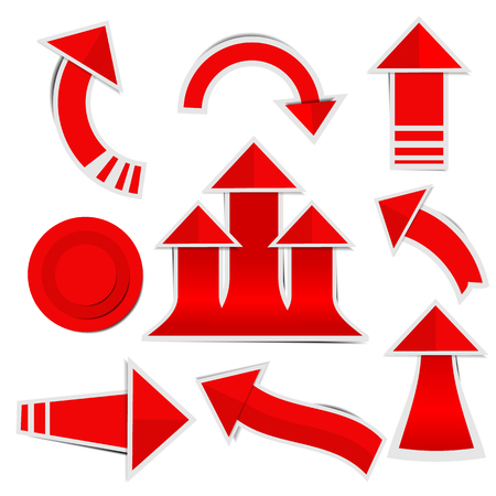 Red paper arrow stickers with shadows Ilustracja