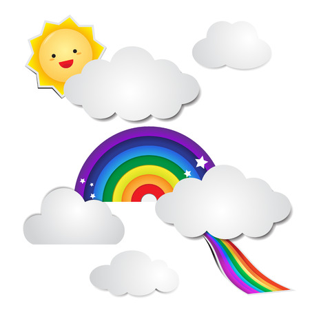 Cute rainbow paper and cloud paper with the sun Ilustracja